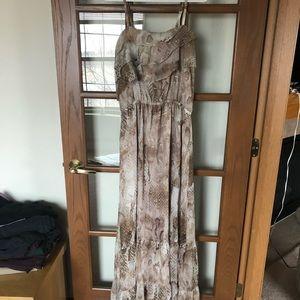 Animal printed floor length dress.